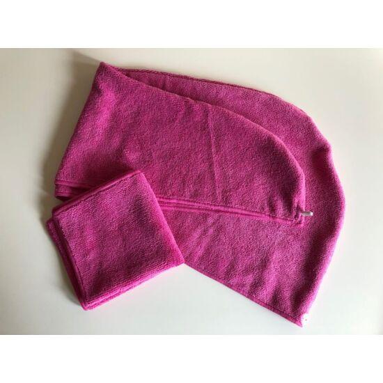 VIXI Turbán és kozmetikai kendő szett pink színben